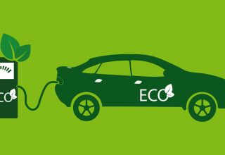 Dibujo con coche eléctrico cargando puesto de recarga electrica