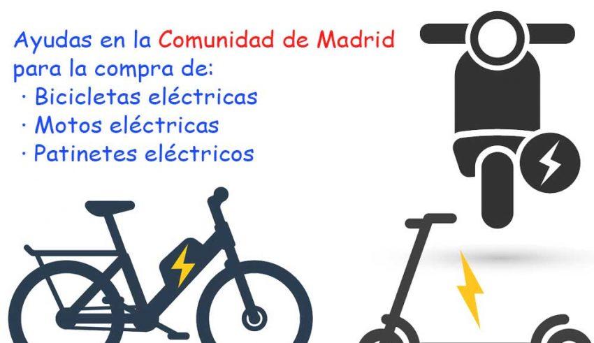 Ayudas compra bicicleta electrica, moto electrica y patinete electrico Comunidad de Madrid